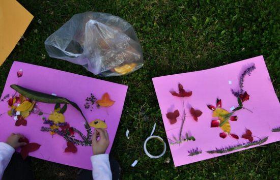 昆明30余位小朋友走进自然用树叶作画