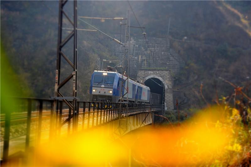 <p>火车穿梭在乌蒙大山深处。</p>