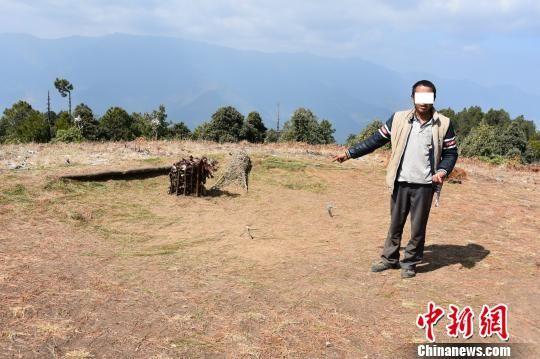 图为嫌疑人用来诱捕高山兀鹫的陷阱 云龙县森林公安局供图