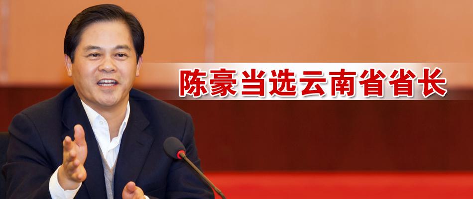 陈豪当选云南省省长 - 中新网云南频道